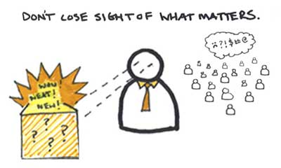 Don't lose sight of what matters.  Shiny objects don't matter, expectations do.